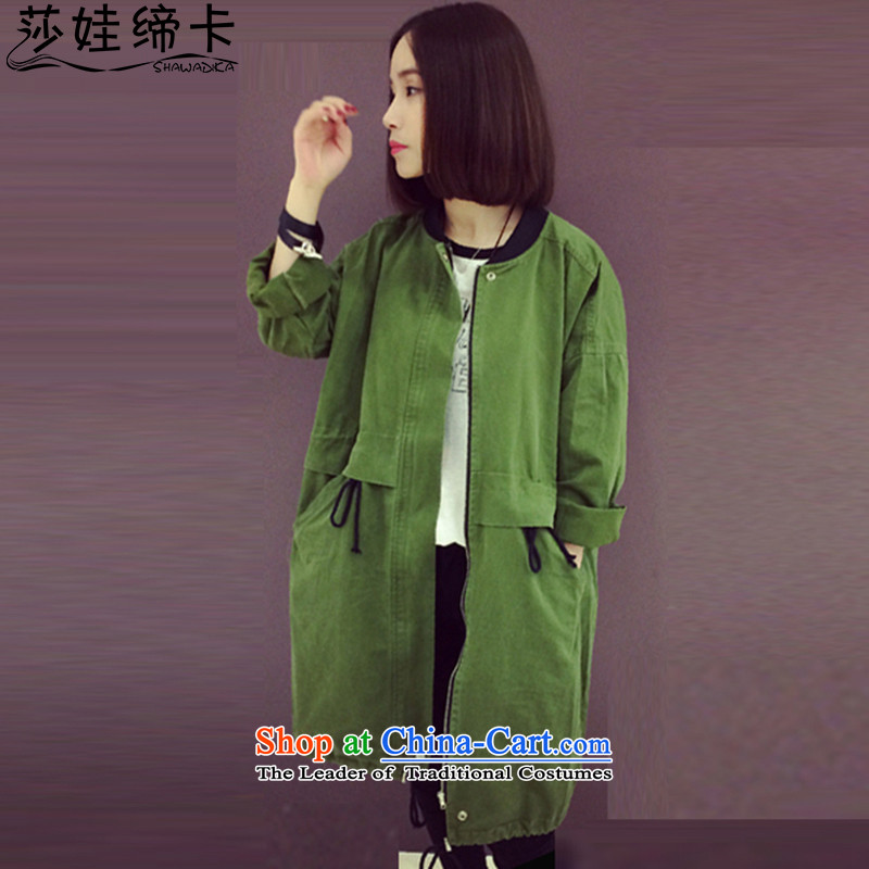 Elisabeth wa concluded card to increase the number of female clothes 200 catties thick girls' Graphics thin, thick sister autumn extra load female Winter Jackets Korean version of large numbers of female windbreaker Army Green5XL suitable for 175 to 200