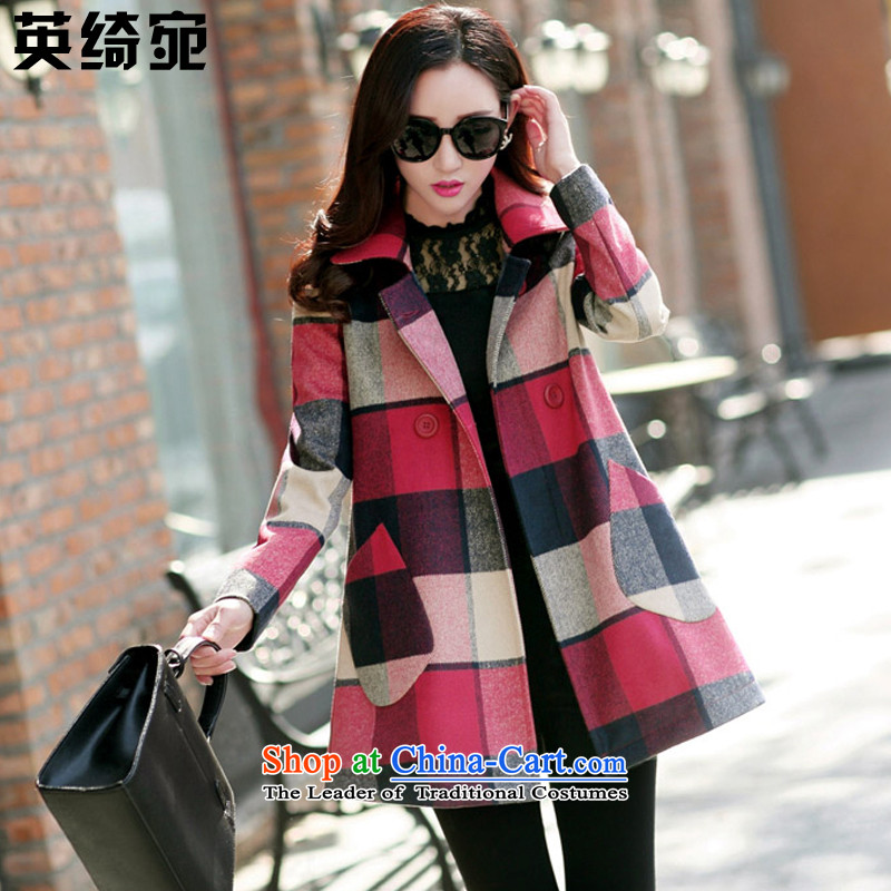 The British Yee Woan 2015 Fall_Winter Collections new larger female thick mm to intensify the loose double-checked in long hair? Women's blouses coats J8705 picture colorL-size to large