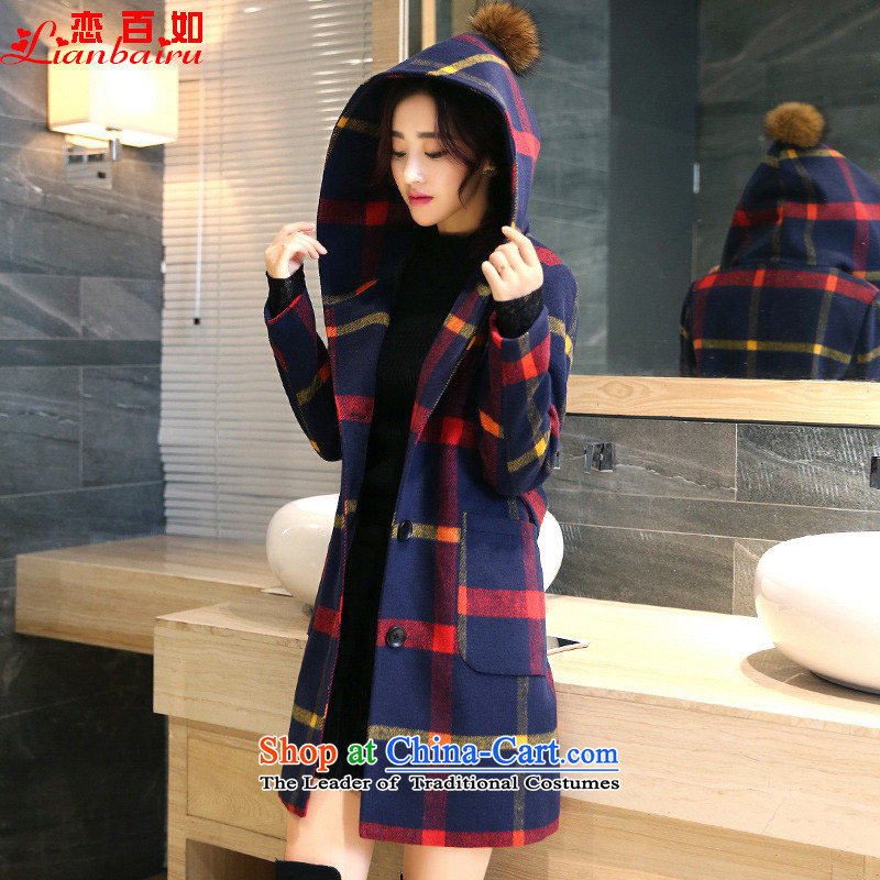 If you love for winter coats women gross grid?_? long jacket coat 2015 is sub-autumn and winter clothes on winter new graphics thin Korean Sau San 625 red yellow M