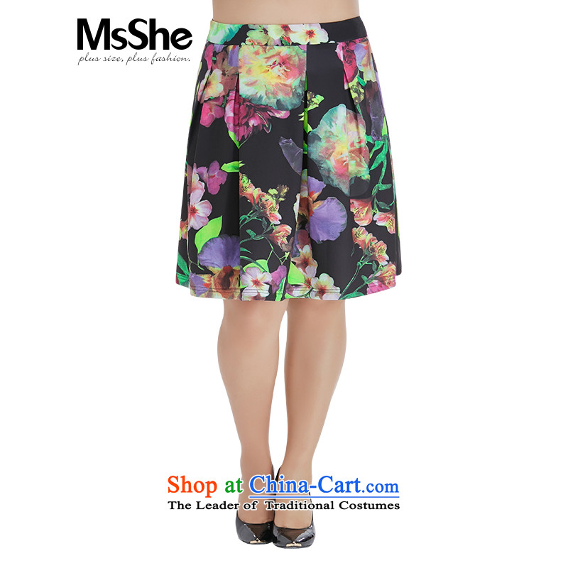 Msshe xl women 2015 new fall inside a beautiful stamp a small A thick sister upper body type the auricle skirt 2465 Black stamp燭5