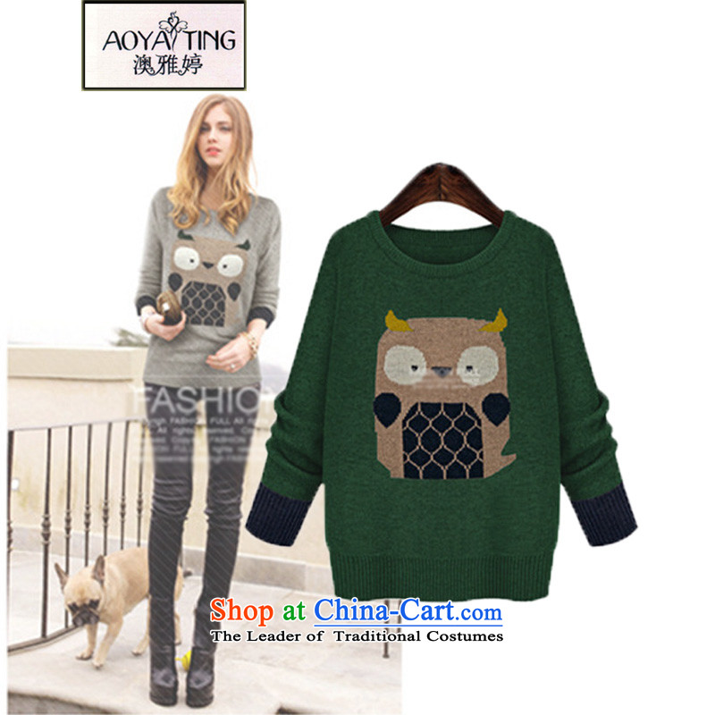 O Ya-ting Korean Version to increase women's code sweater thick mm loose video thin knitting sweater autumn 2015 installed, forming the new clothes female 618 knitting green�L爎ecommends that you 160-180 catty