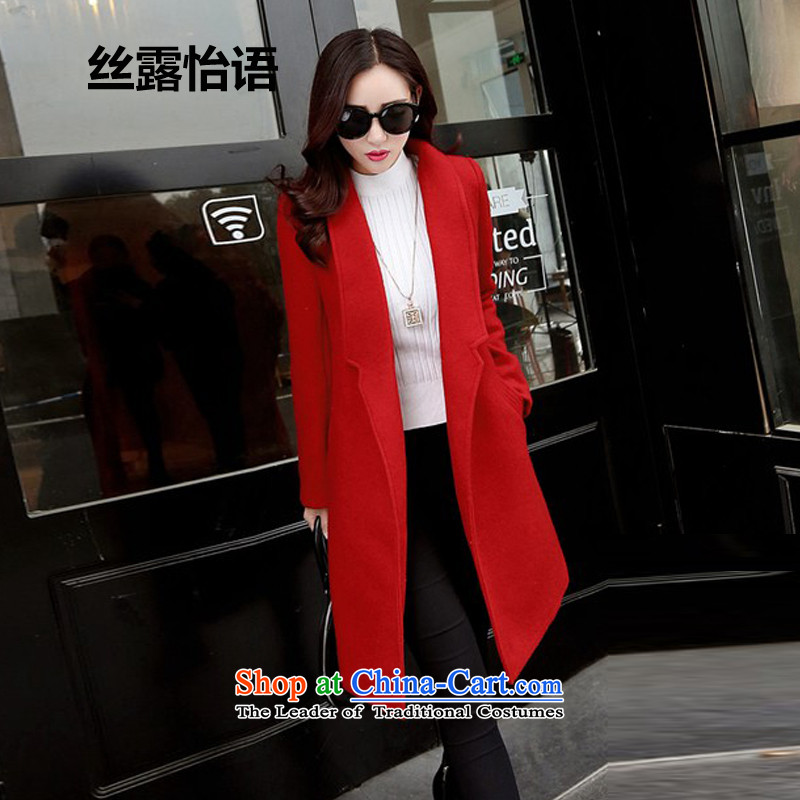 The population exposed in Arabic2015 autumn and winter Selina Chow Korea version long Leisure pure color coats female gross? lapel?   Jacket coat188red without lint-freeM
