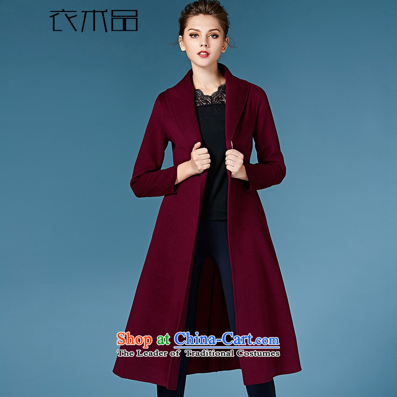 Yi Art�15 double-side cashmere overcoat female hair fall_winter coats? Western new products in the long strap a wool coat female aubergine燣