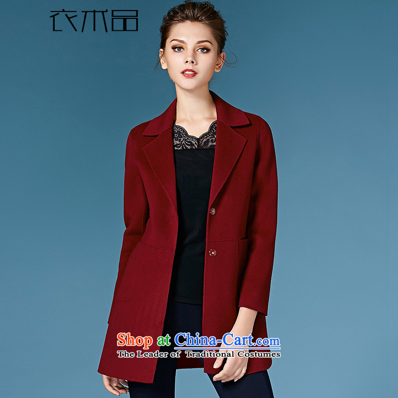 Yi Art2015 new products for autumn and winter coats double-side cashmere overcoat European and American Girl in gross? long coats gross? female wine redL
