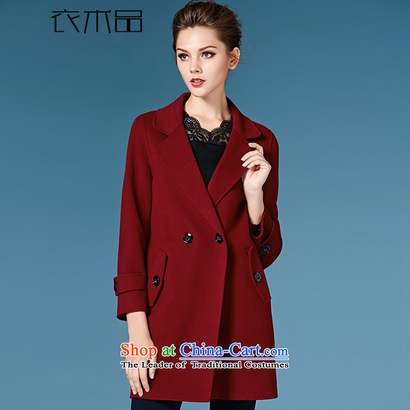 Yi Art?2015 autumn and winter new two-sided cashmere overcoat female hair? jacket?158089?wine red?L