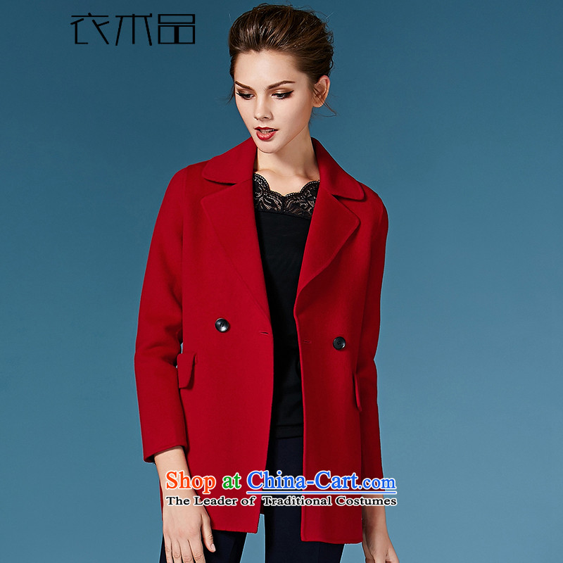 Yi Art�15 autumn and winter new two-sided cashmere overcoat female gross�8038?爎ed燣