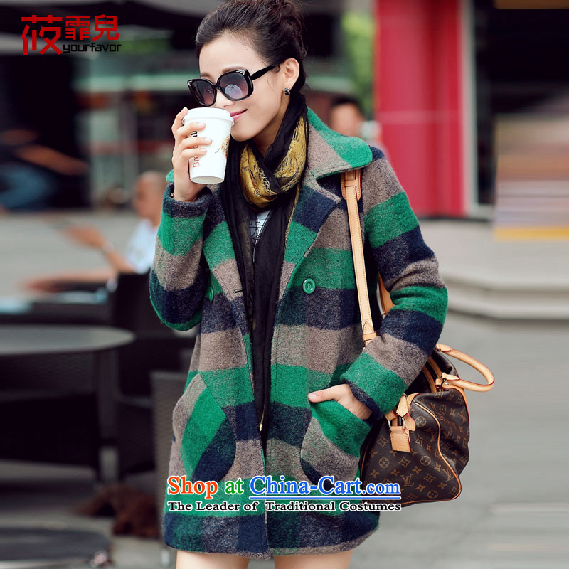 In his son? jacket coat women gross in long_? 2015 autumn and winter coats the new Korean women's stylish latticed wool coat for winter winter? On the new green燤