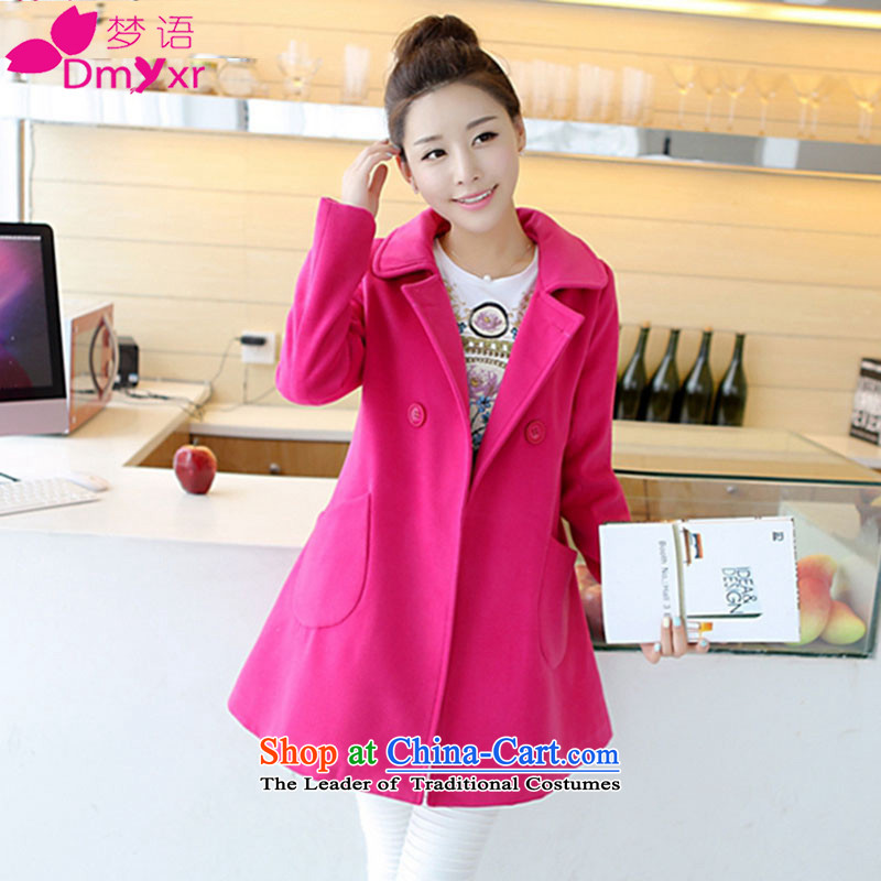 In 2015 autumn and winter dream new Korean version of long-sleeved loose lapel a girl in the red jacket 6235_ L