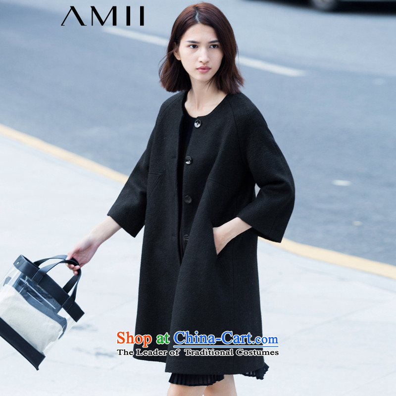 _amii minimalist- 2015 autumn and winter pure color 9-rotator cuff loose in the Large Long Hair Girl 11571395? jacket black L