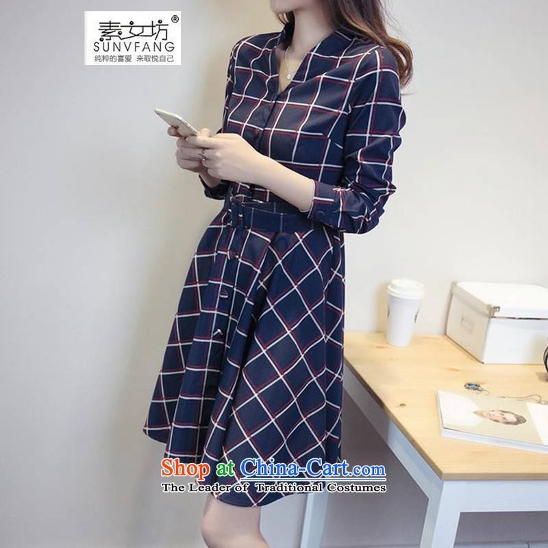 Motome to xl female new fall inside the skirt thick MM stylish Fall_Winter Collections, forming the grid 200 catties Sau San video thin dresses 9175 picture color?4XL recommended weight 160-180 catty