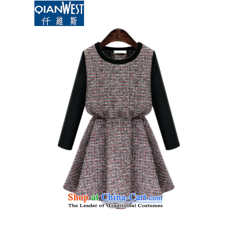 The 2015 Europe KVA larger female 200 catties thick MM new round-neck collar long-sleeved checkered skirt thick sister video thin dresses 1671 dark red 2XL recommended weight 120-140 catty