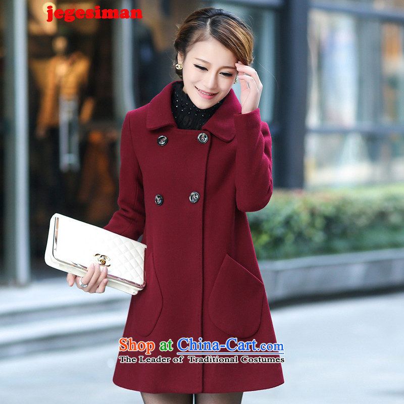 The autumn and winter load Korea jegesiman2015 version thin hair? girls coats of larger gross jacket coat women?? wz chestnut horses燤