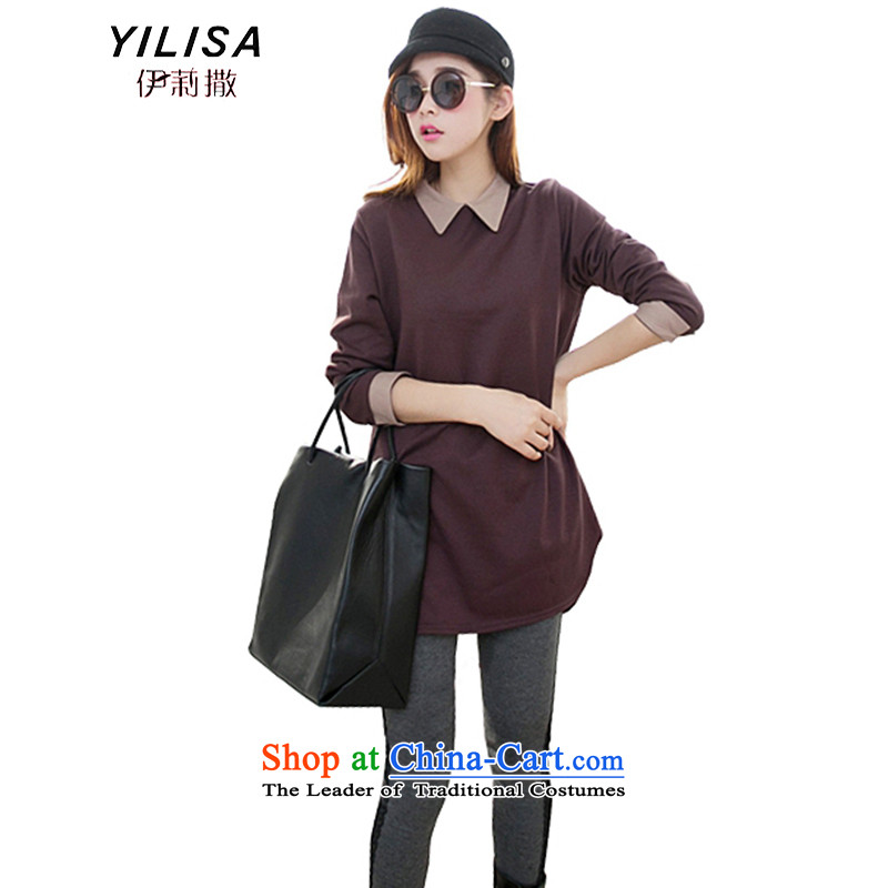 Elizabeth to sub-XL autumn boxed long-sleeved dolls, forming the basis for a solid color shirt 2015 new autumn and winter Korean women xlarge thick mm loose in long-line T-shirt purpleXXL recommendations 140-165 catty