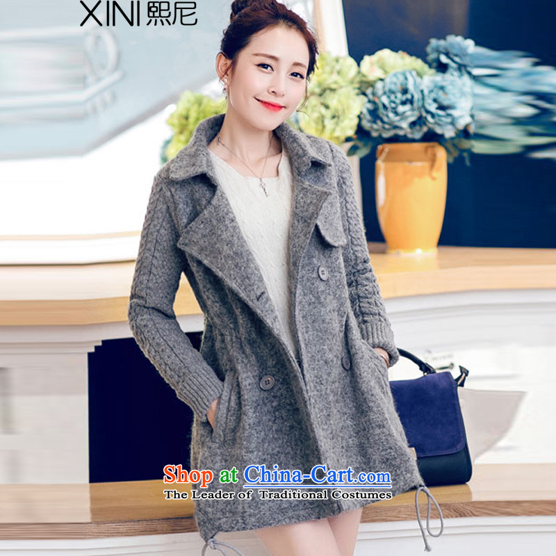 Replace the spring and autumn 2015, Hee-new Korean fashion Sau San with cap zipper video thin under rule does not double-jacket coat? female gross winter Light Gray燣