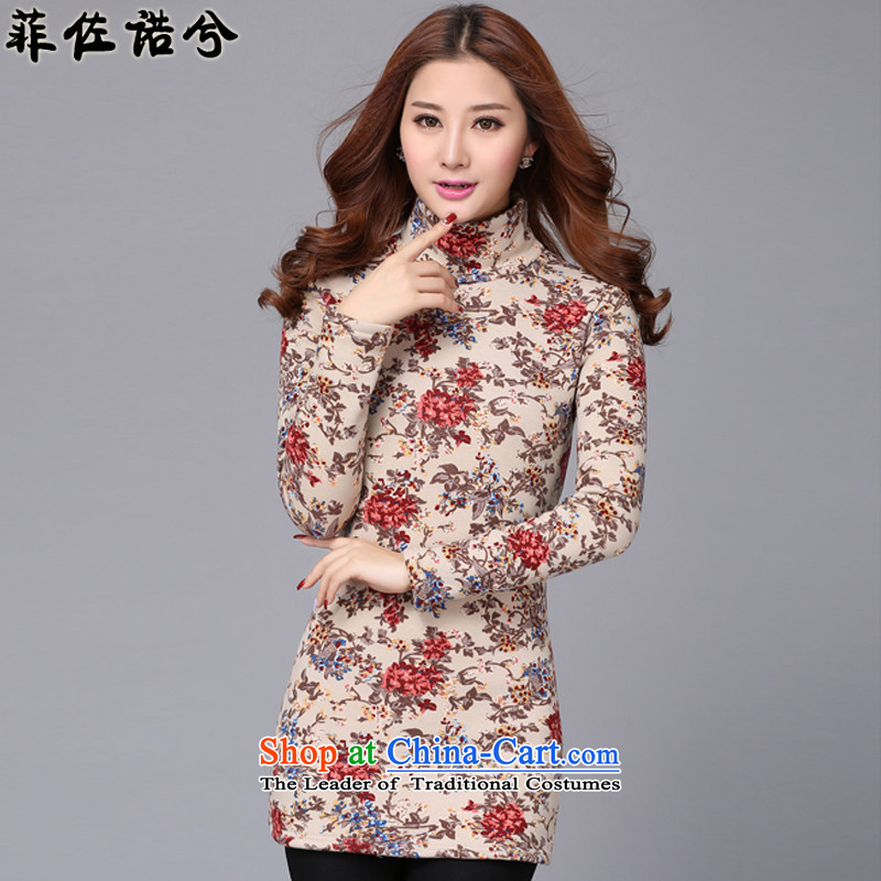 The officials of the fuseau larger female autumn and winter saika plus large forming the thick wool sweater thick mm to intensify the thermal underwear apricot color high-collar 4XL