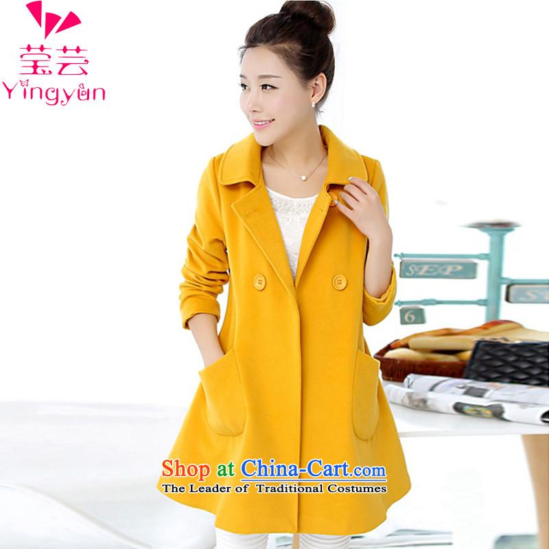 The various big Ying Female dress code 2015 autumn and winter new Korean version long lapel a wool coat jacket coat female YM19_ gross?燲XXXL_180-200_ yellow