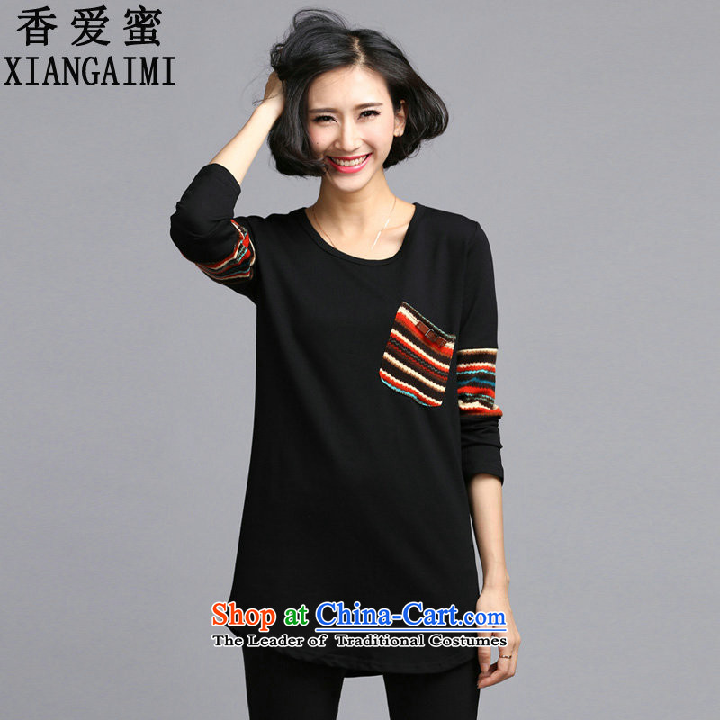 The Champs Elysees Love 2015 Autumn Honey new liberal video in thin long thick MM long-sleeved T-shirt, forming the female black shirtXXXXXL