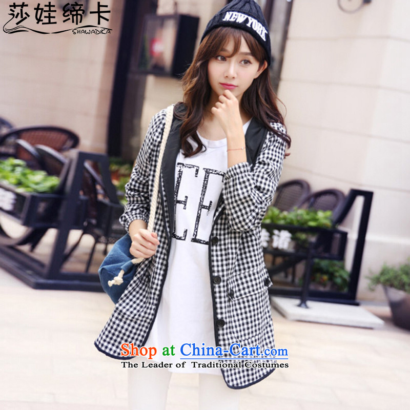 Elisabeth wa concluded to intensify Ms. card jacket thick Mei Women 200 catties XL LADIES CARDIGAN thick girls' Graphics thin, Korea version of large numbers of female windbreaker thick Tien large black and white,爁or 180 to 200 5XL catty fertilizer Ferti
