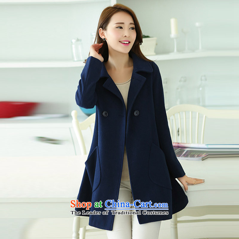 Create the聽 2015 autumn billion new Korean version of large numbers of female graphics thin long in Sau San reverse collar double-sided gross a wool coat windbreaker聽G495聽navy聽XXL