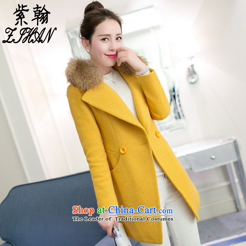 The first Han聽2015 Fall_Winter Collections new Korean in thick long wool Sau San a wool coat female yellow聽L