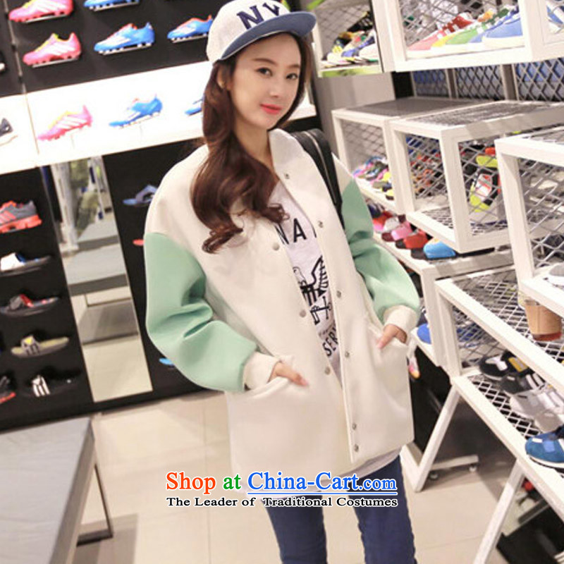 Create the 2015 autumn billion new Korean version of large numbers of ladies relaxd long-sleeved sweater bf wind , baseball uniform cardiganF671light greenM