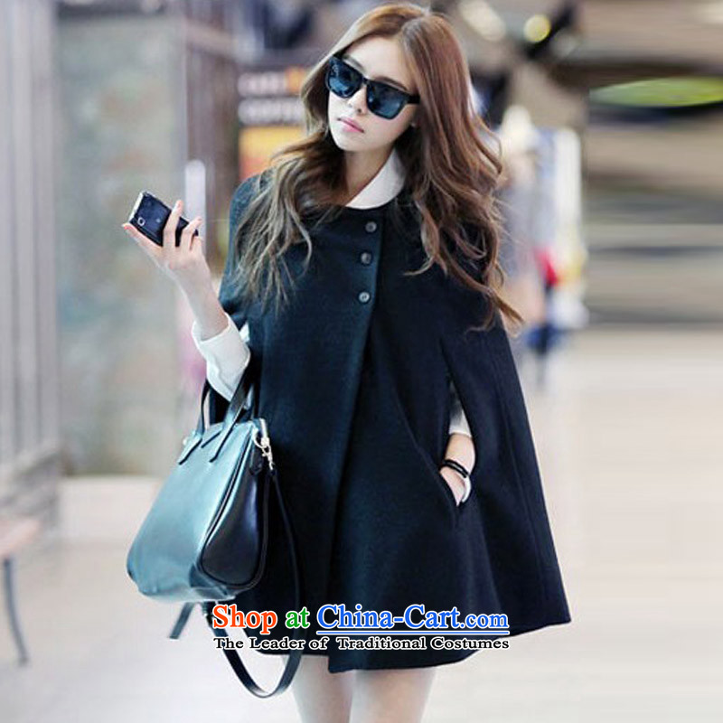 Create the� 2015 autumn billion new Korean version of large numbers of ladies cloak gross? coats that long frock coat燡938 shawl燽lack燲XL