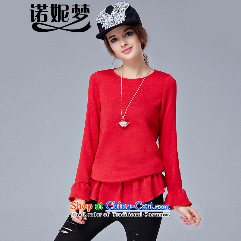 The Ni dream new_ Autumn 2015 Europe to increase women's burden of code 200 mm thick stylish and simple temperament long-sleeved Knitted Shirt female s1039燲XXL red
