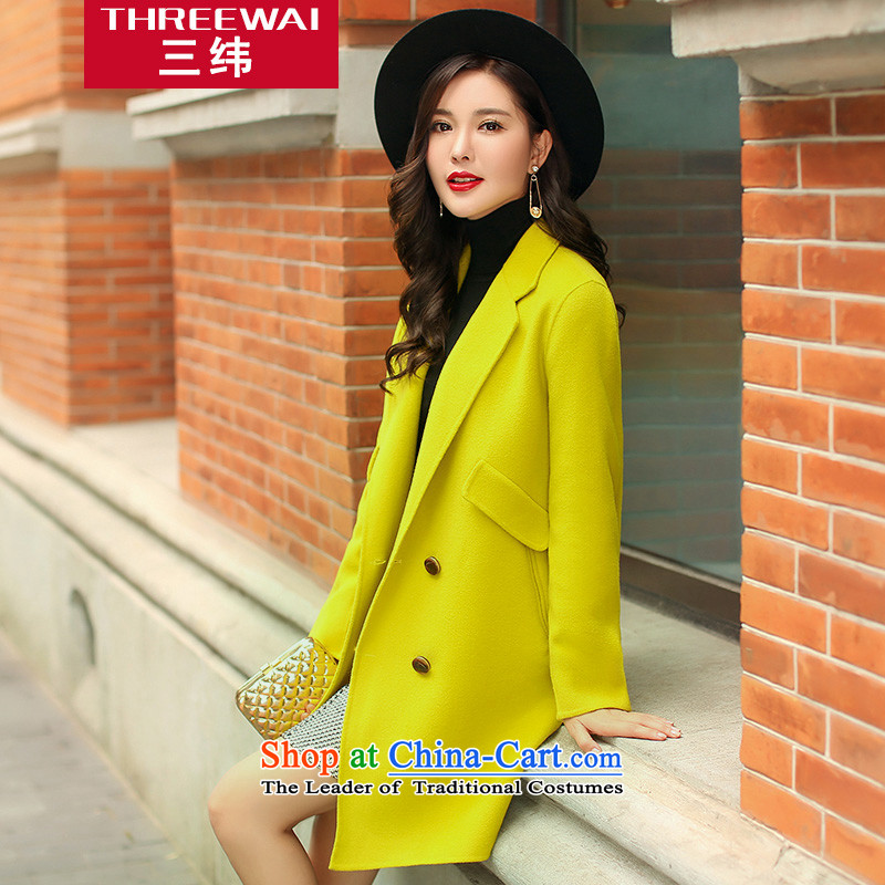 Three courses 2015 autumn and winter new ultra high-end plain manual two-sided wool a wool coat gross? female Sau San video thin coat of pure colors in the cashmere long woolen coat Qiu Xiang green L
