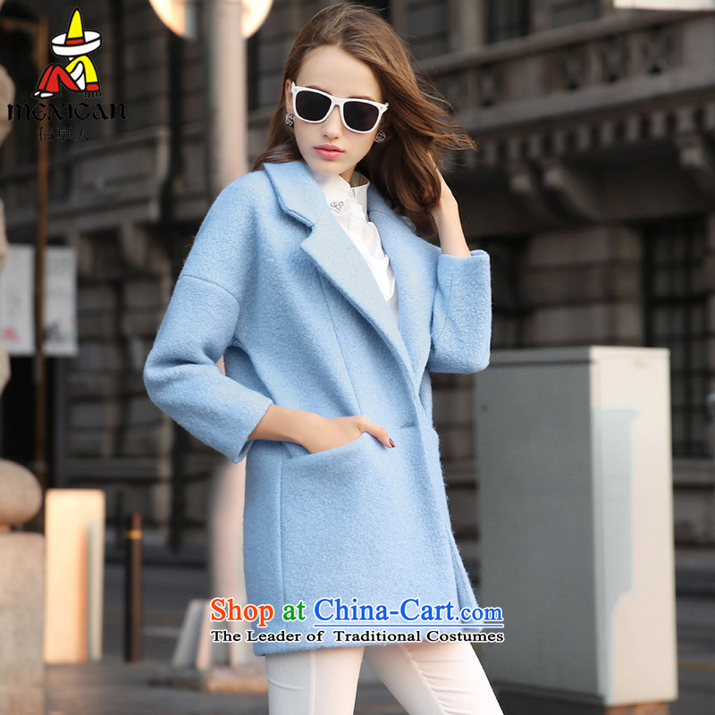 The straw man 2015 Korean plain manual high-end cashmere overcoat gross girls so long jacket, a wool coat HHYS820 light blue?M