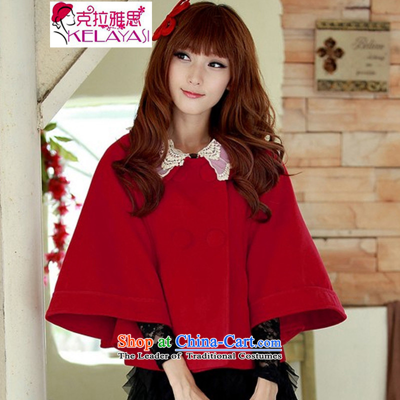 The Accra IELTS�15 autumn and winter new small wind short of incense? jacket Korean shawl a cloak wind jacket female gross a wool coat RED燤