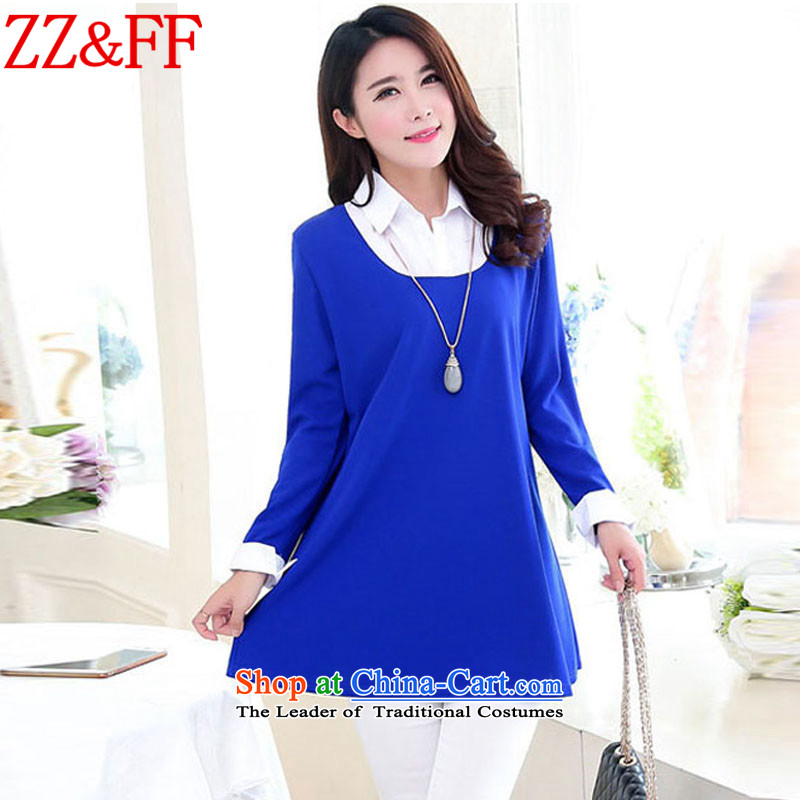 The autumn 2015 new Zz_ff larger women leave two video thin black poverty in the skirt wear skirts long female聽LYQ9509聽聽XXXL blue