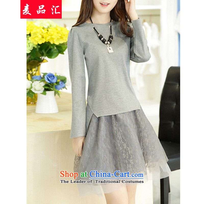 Mr Hui 2015 autumn and winter, new larger female Euro root yarn, forming the skirt kit to increase long-sleeved mm thick video thin two kits 001 light gray 3XL