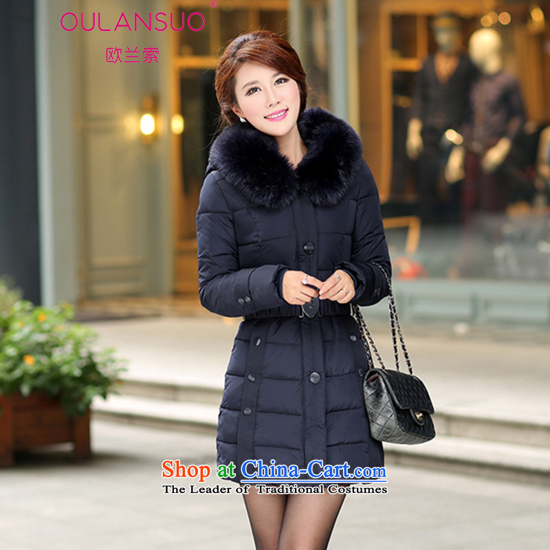 In 2015, OSCE, the new Korean version of winter in long thick nagymaros collar hoodie cotton coat larger downcoat 1309_ female black XXXL