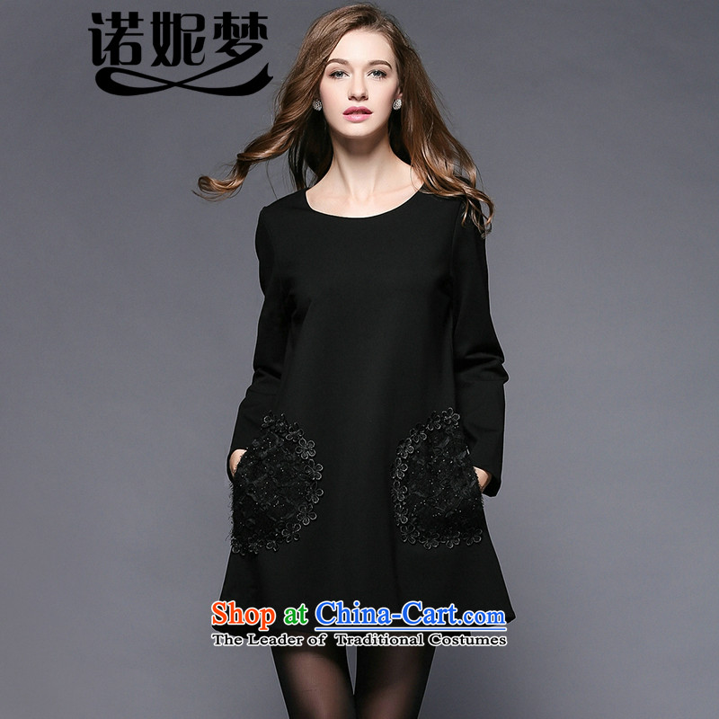 The Ni dream new_ Autumn 2015, Europe and the large number of ladies thick mm beads loose staples embroidered temperament video thin long-sleeved dresses y3456燲XXXL black
