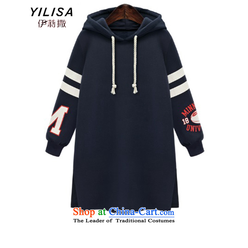Elizabeth sub-XL to Europe and the women's Winter Sweater with cap thick mm Fall_Winter Collections new thick warm 200 catties leisure sweater dresses K324 navy?3XL