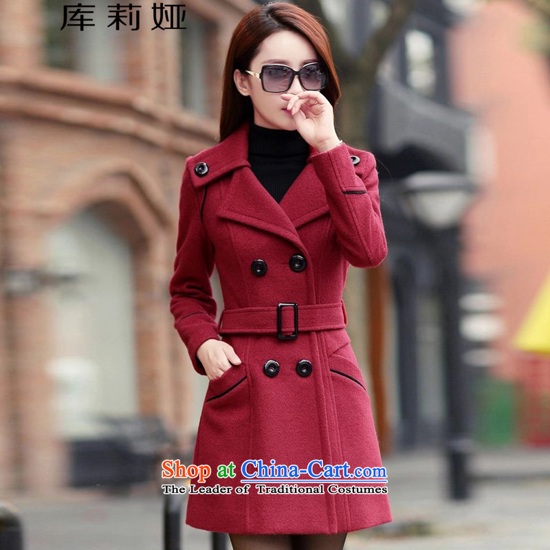 Library Leah 2015 autumn and winter new Korean Sau San video thin coat of Europe and thick hair girl in long? gross K088 jacket? wine redXL