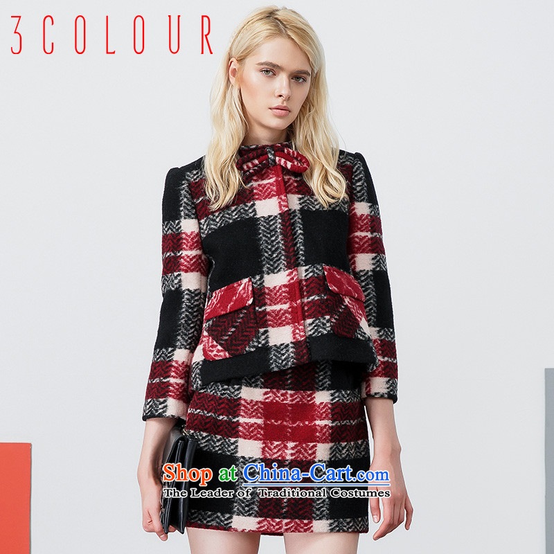 The new 2015 winter two kits contain color Plaid Shorts knocked short of coats S440710G20? female black and red?155_80A_S