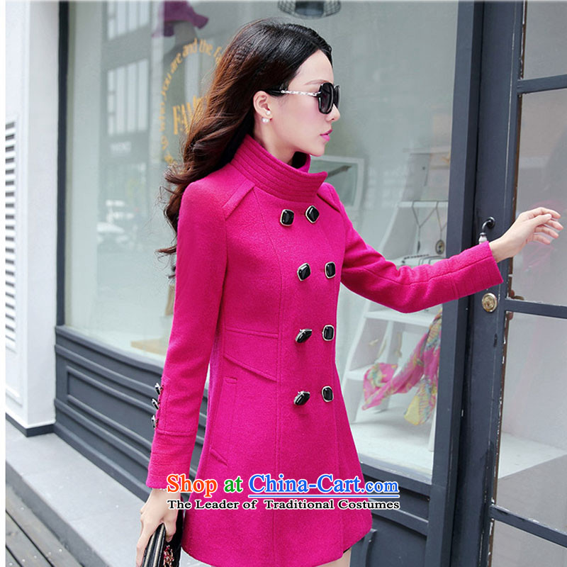 Load the autumn 2015 has sin Korean citizenry video thin solid color stylish girl in gross? jacket red  XL
