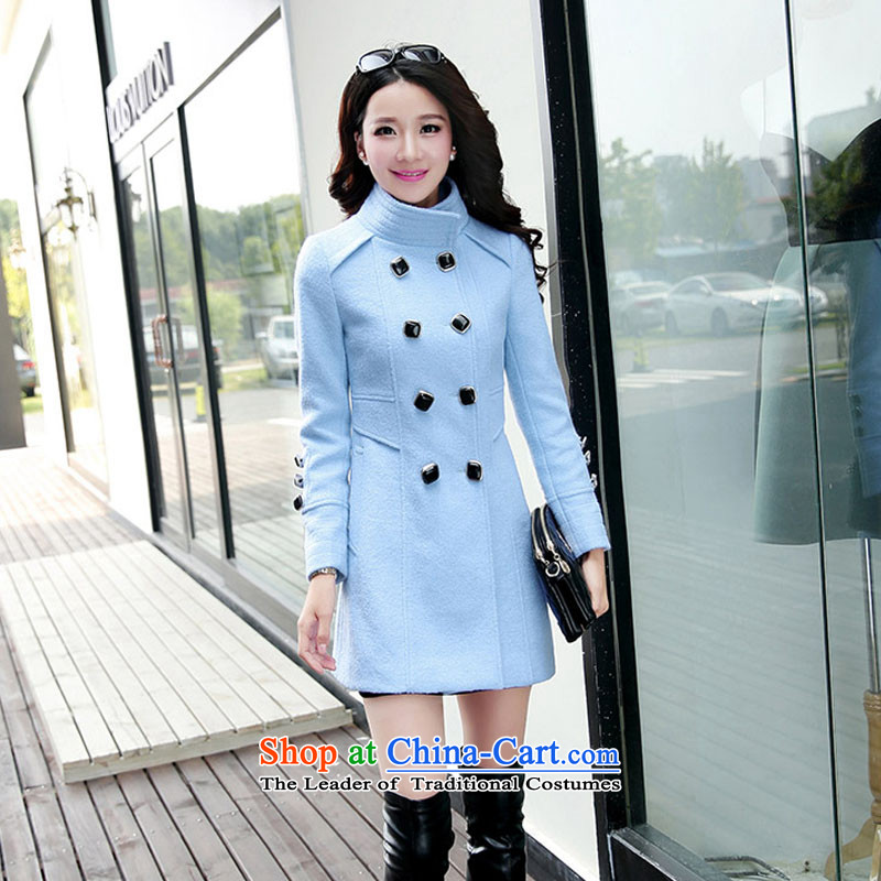 ?Load the autumn 2015 has sin Korean citizenry video thin solid color stylish girl sky blue jacket? gross? XXL