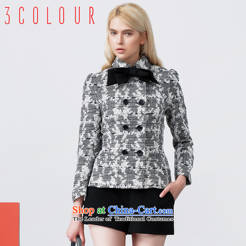 The new 2015 winter clothes with a black-and-white Jacquard Lace short coats S440706D20 gross? female black and white�0_84A_M