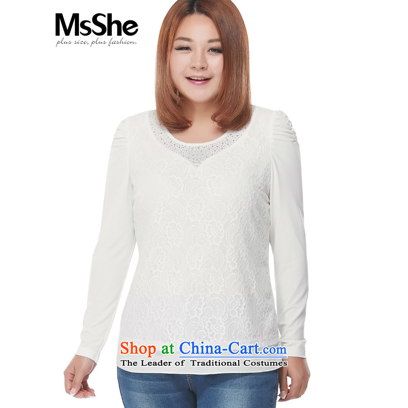 Msshe xl women 2015 new autumn replacing thick MM lace ironing drill long-sleeved T-shirt with round collar forming the Netherlands 2773�L White