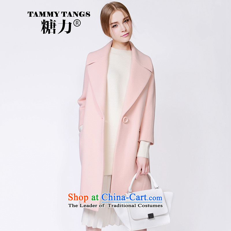 In2015 winter sugar new European site pink sweet high end wool coat women than gross? long coats sakura powder _pre-sale on 30 November shipment_ M