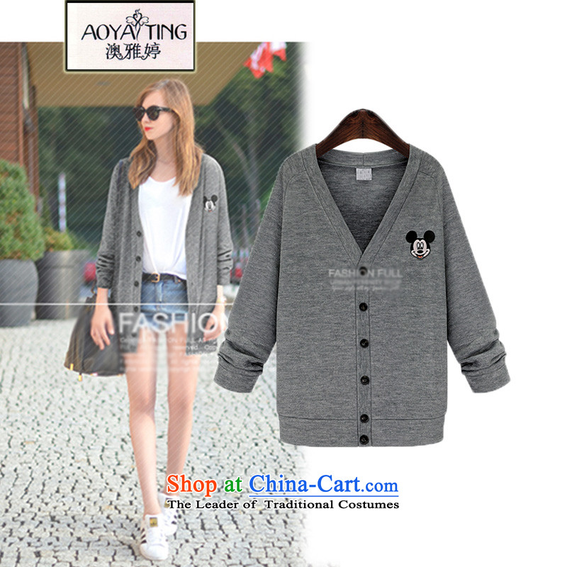 O Ya-ting to xl thick mm medium to long term for women fall long-sleeved jacket cardigan thick Knitted Shirt outside wearing gray 3XL sweater 3807th 145-165 recommends that you Jin
