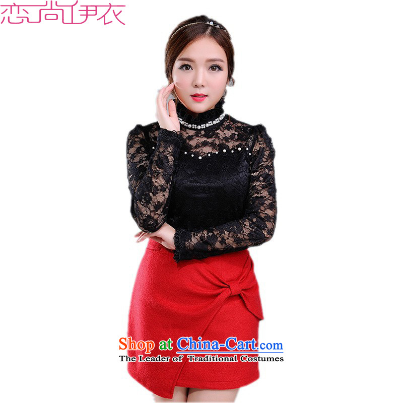 C.o.d. XL Dress Shirt 2015 new autumn replacing staple pearl lace Mock-Neck Shirt lace shirt, forming the long-sleeved T-shirt and black shirt�L small Mei燼bout 185-200 catty