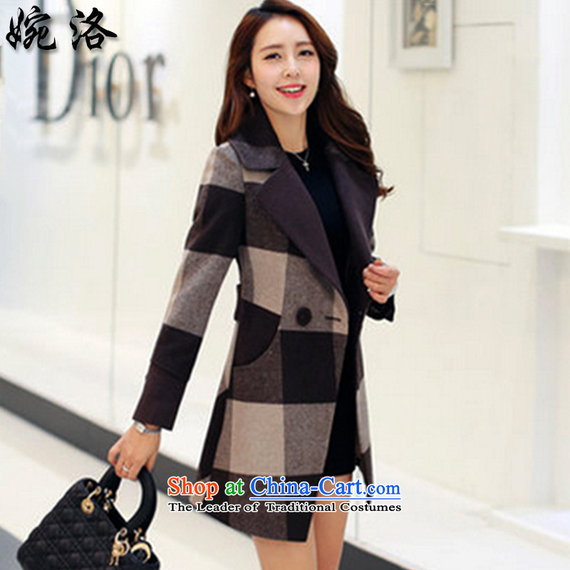 The 2015 autumn Yuen new Korean female Grid_ jacket coat NRJ9487 Sau San cream XL