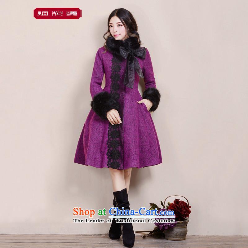 Fireworks Hot Winter 2015 new women's temperament sweet long coats gross 歆 China? purpleS