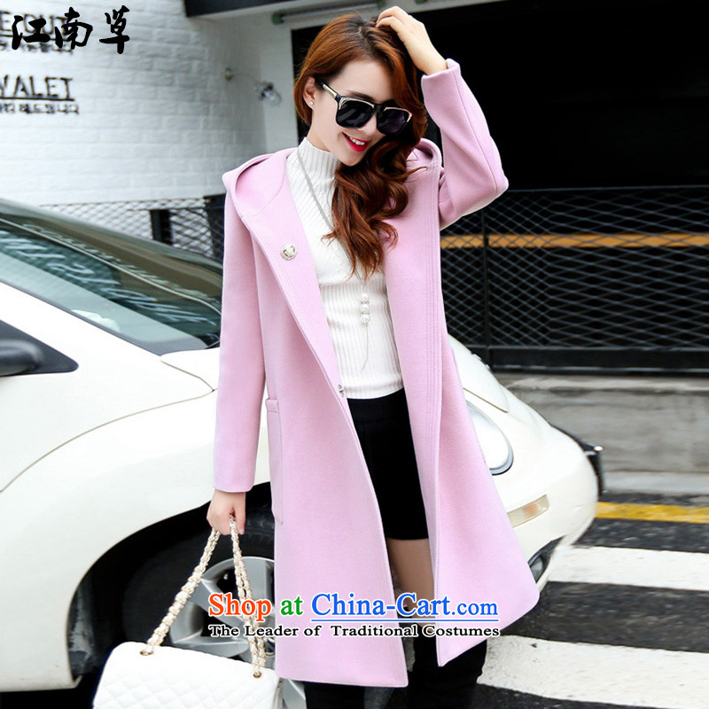The Gangnam grass in the autumn and winter new long hair? Korean female coats and stylish Sau San wild coats jacket temperament sweet style leisure version pink燣