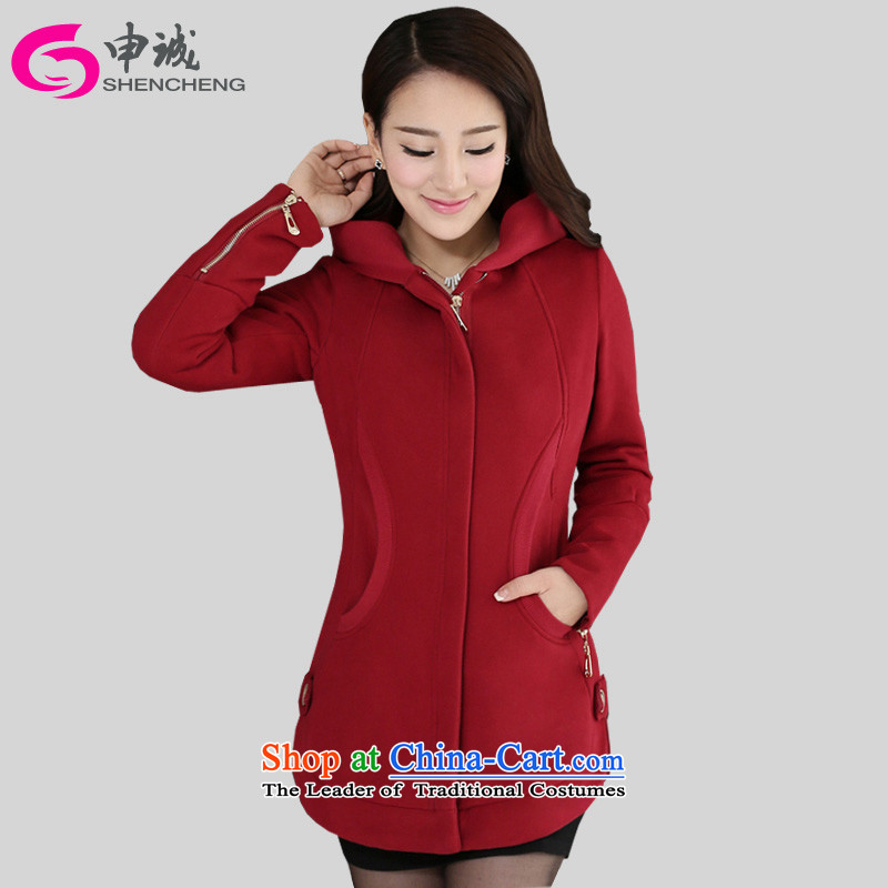 Shin Sung to increase women's code 200 catties sweater COAT 2015 autumn and winter, zipper Korean long woolen sweater plus lint-free sweater Cardigan燘ay 679 red plus recommendations 175-185 5XL_ lint-free, Jin_