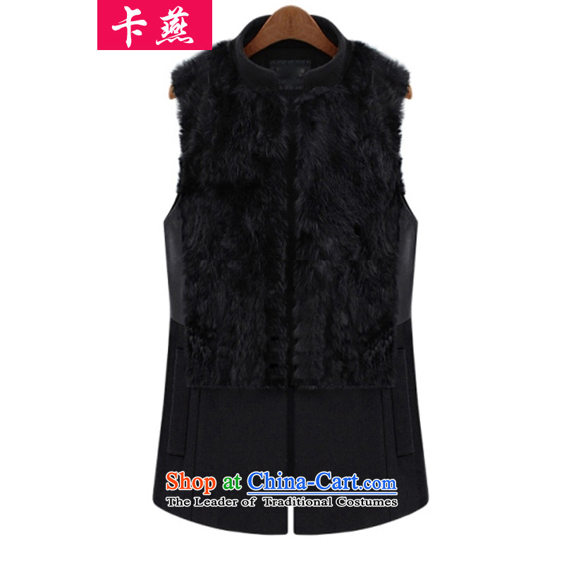 �15 Yan Europe card autumn and winter large female loose video thin thick ma focused to intensify the true MM rabbit hair vest the folder unit�6燘lack�L Jacket