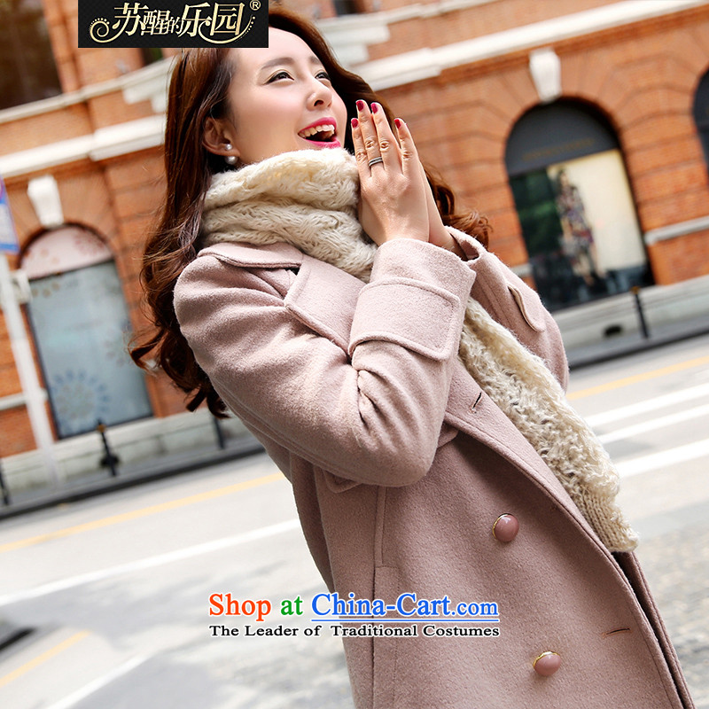 Park woke up to 2015 winter clothing new Korean women's stylish and elegant double-jacket coat of gross?? and pink?M
